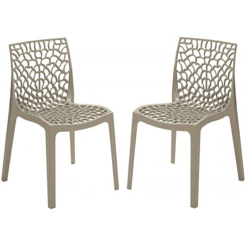 3S. x Home - Lot de 2 Chaises Design Grises DENTELLE - Chaise, tabouret, banc