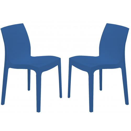 3S. x Home - Lot de 2 Chaises Design Bleues ISTANBUL - GRANDSOLEIL