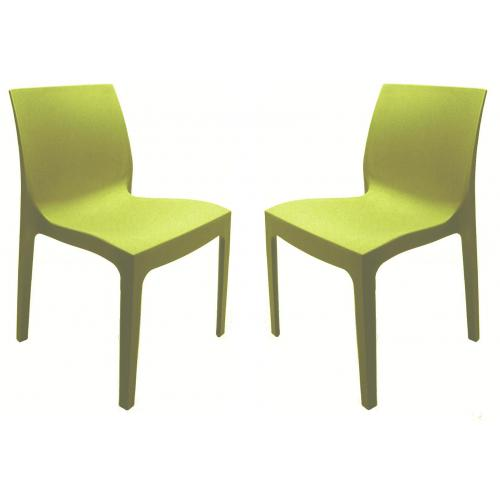 3S. x Home - Lot de 2 Chaises Design Vertes Anis ISTANBUL - GRANDSOLEIL