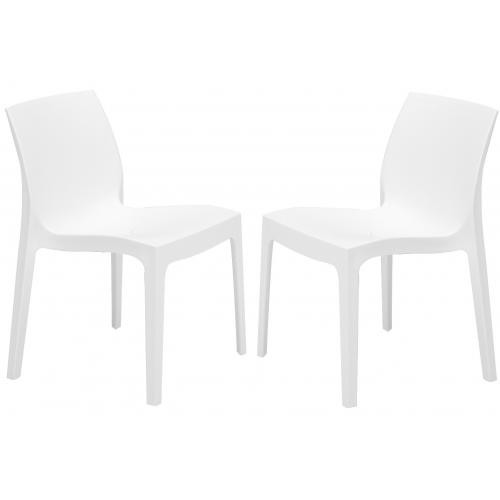 3S. x Home - Lot de 2 Chaises Design Blanches ISTANBUL - Chaise