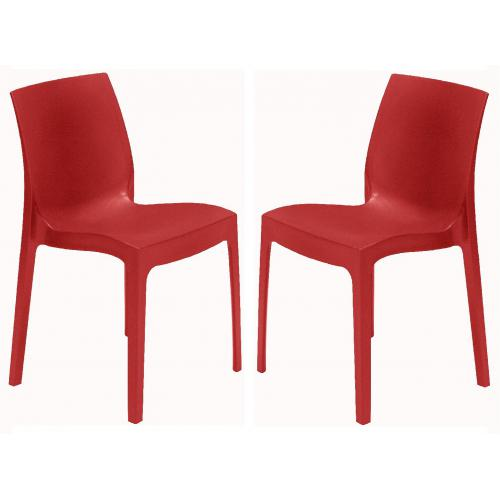 3S. x Home - Lot de 2 Chaises Design Rouges ISTANBUL - GRANDSOLEIL