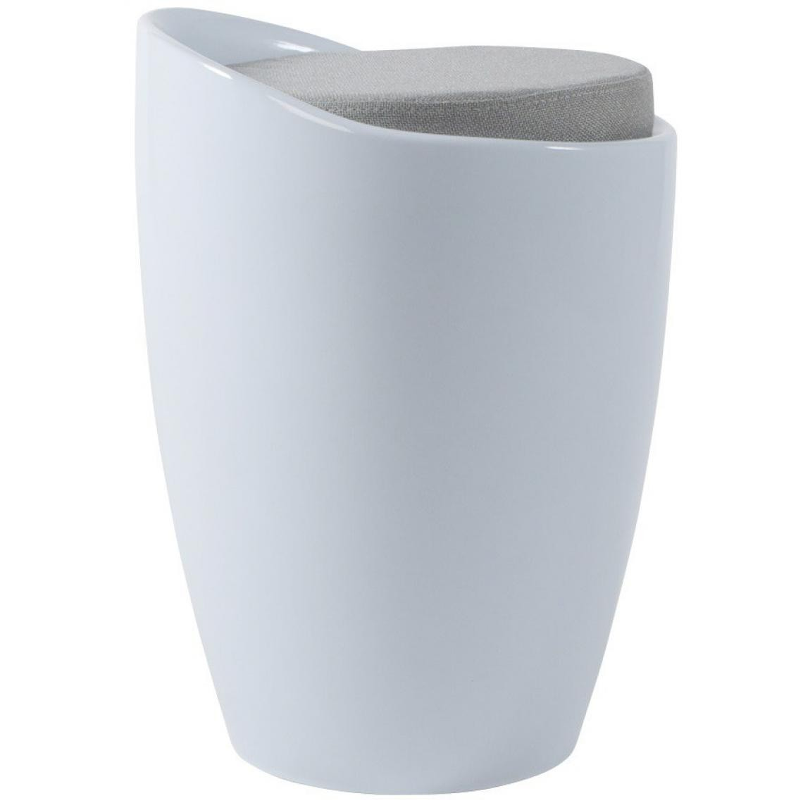 Tabouret bas blanc en tissu SANTEX JQEc0