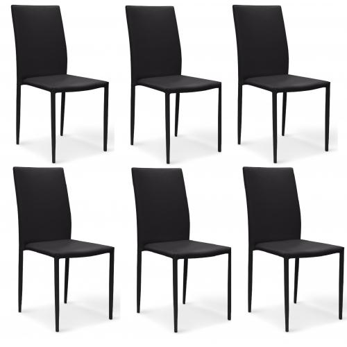 3S. x Home - Lot de 6 chaises noires en simili Praia - Chaise, tabouret, banc