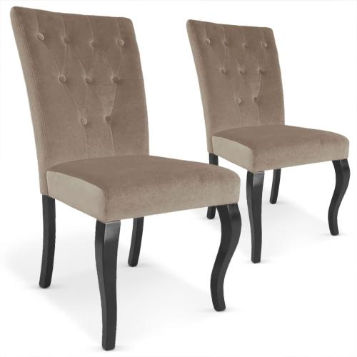 3S. x Home - Lot de 2 chaises taupes en velours Baroque Port-Vila - La salle à manger
