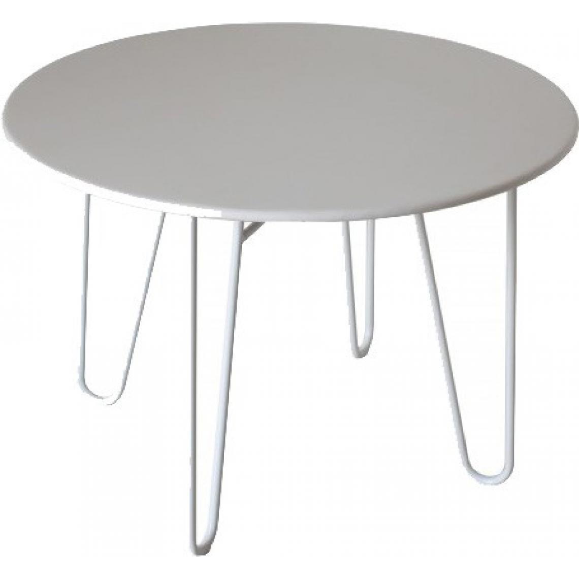 Table ronde blanche en métal Bénédicte  6 SUISSES