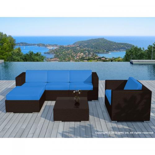 Salon de jardin bleu en résine tressée Amadeus - 3 SUISSES