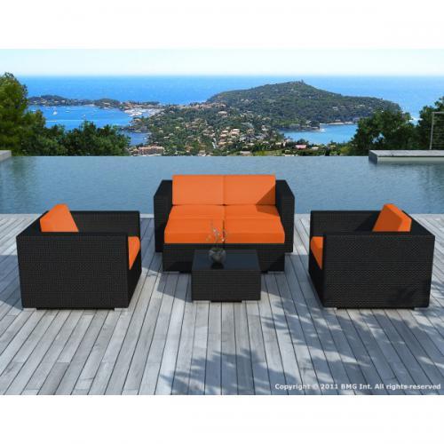 Salon de jardin noir avec housse orange Amin