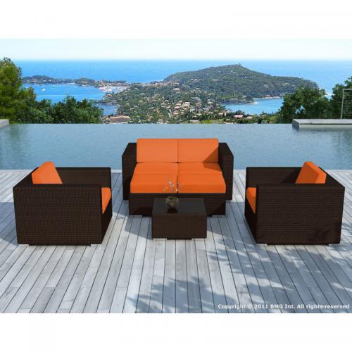 Salon de jardin chocolat avec housse orange Amin - 3S. x Home