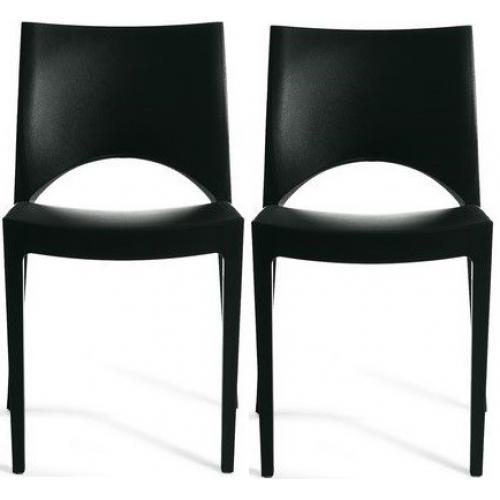 3S. x Home - Lot de 2 Chaises Design Noires VENISE - Chaise, tabouret, banc