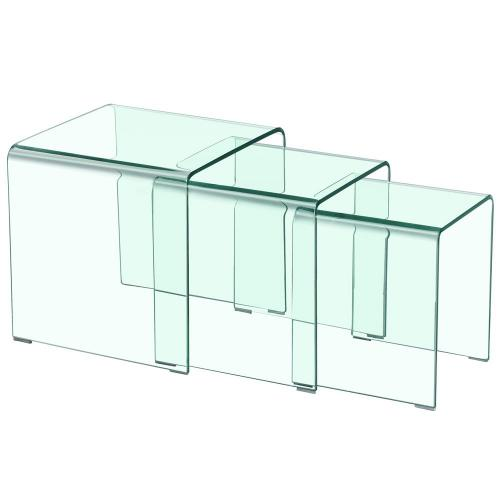 3S. x Home - Table basse gigogne Transparente HOTE - Table basse