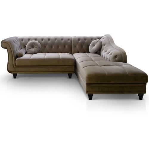 3S. x Home - Canapé d'angle Brittish Velours Taupe style Chesterfield - Meuble & Déco