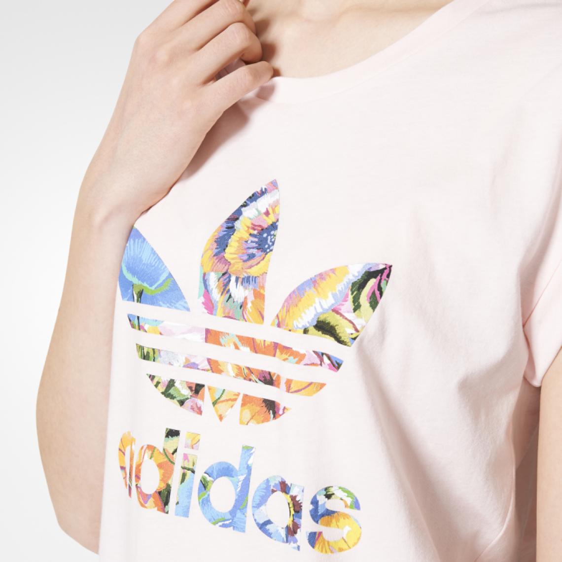 Tee shirt manches courtes imprimé floral Adidas femme