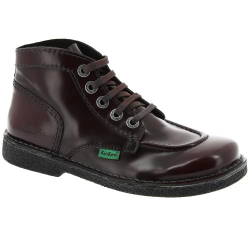 Bottines à lacets vernies bordeaux femme Kickers Femme