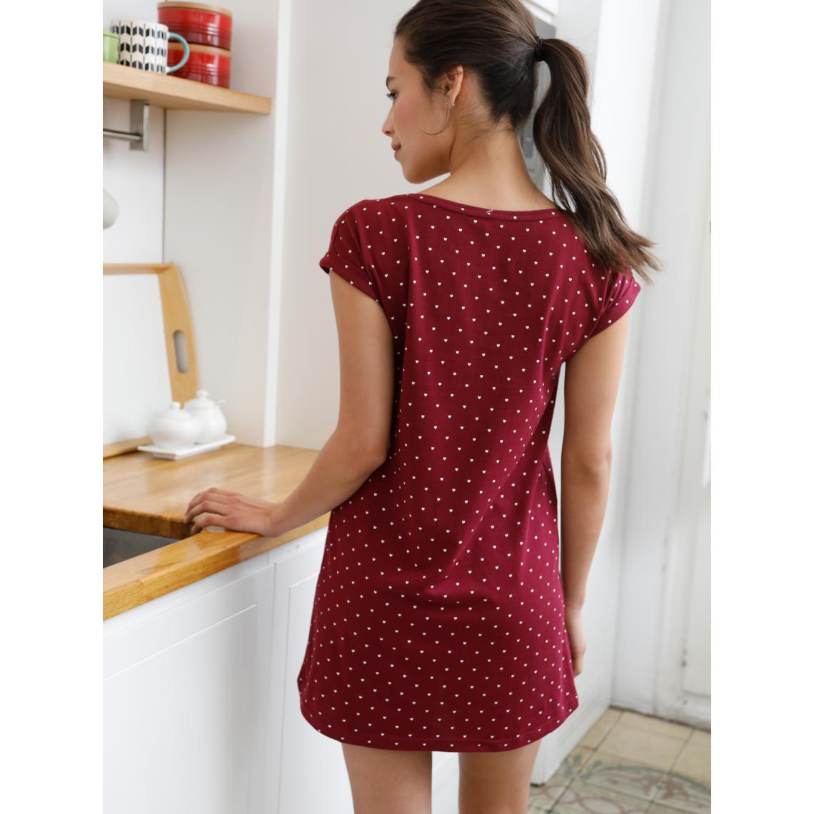 bas prix prix favorable lisse Chemise de nuit à manches courtes avec imprimé coeurs Rouge ...
