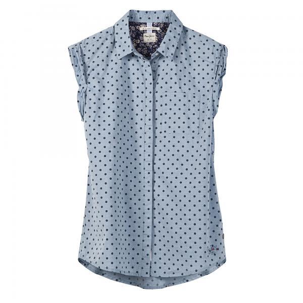 Chemise sans manche imprimée à pois Pepe Jeans femme Bleu