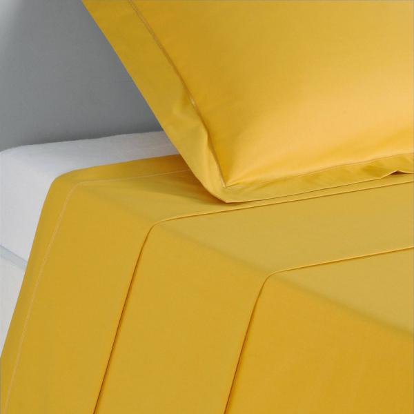 Drap coton uni PERCALE - Jaune 3 SUISSES Collection Linge de maison