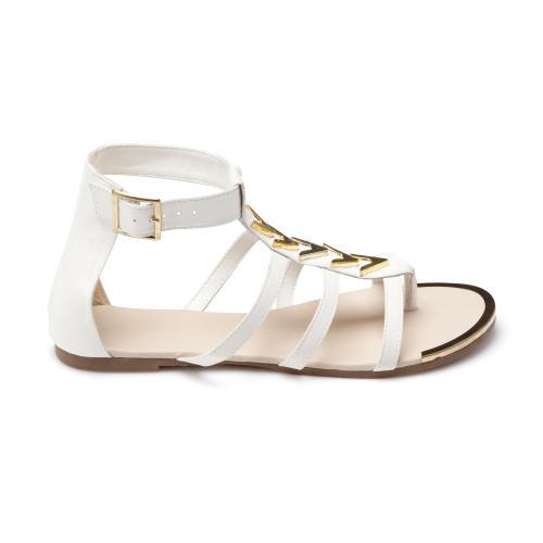 9194131a4b3ddb 3 SUISSES Collection - Sandale tong blanche et dorée - Sandales