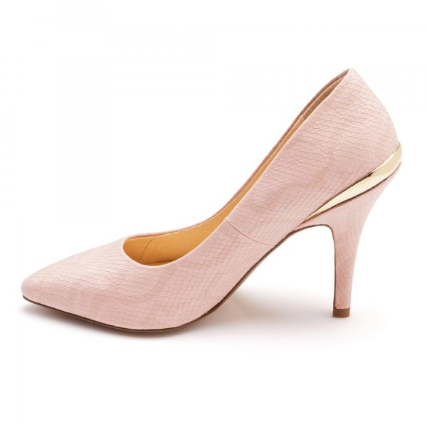 Escarpin rose plaqué or talon 3 SUISSES Collection Femme