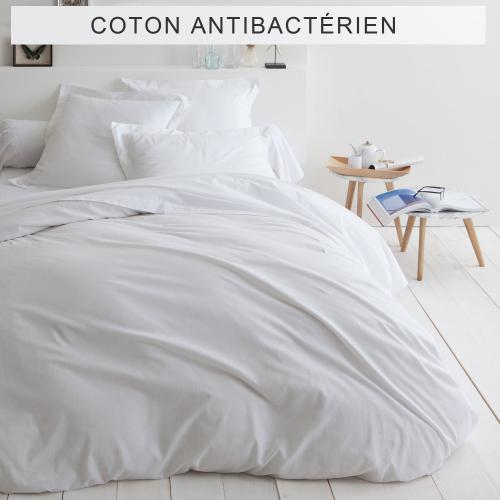 3S. x Collection - Housse de couette unie coton traité antibactérien Sanitized® - Blanc - Linge de lit