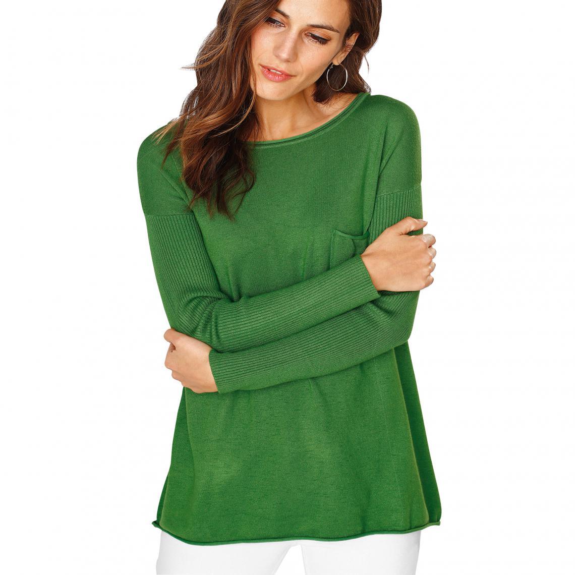 Pull manches longues en côtes femme Vert | 3 SUISSES