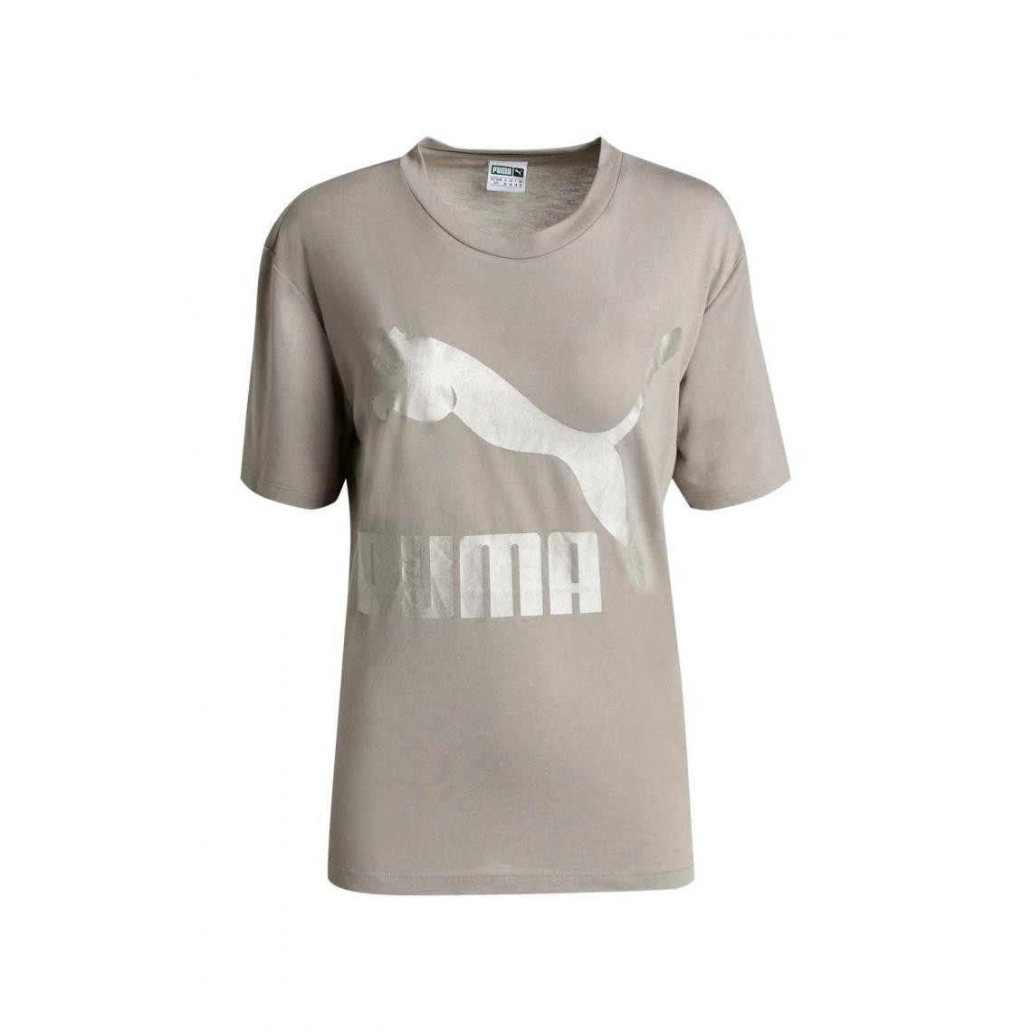 Tee shirt manches courtes col rond PUMA femme Taupe