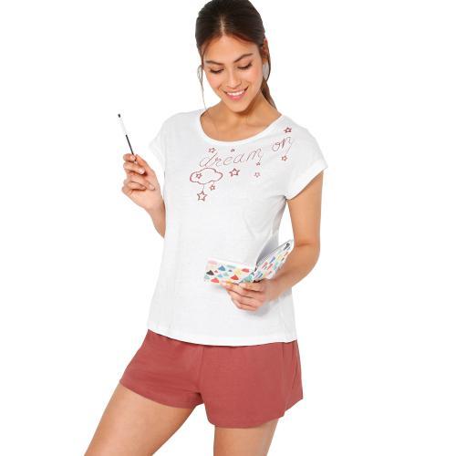 profiter du meilleur prix Style magnifique Couleurs variées Pyjama court avec top imprimé Blanc, Rose - Venca