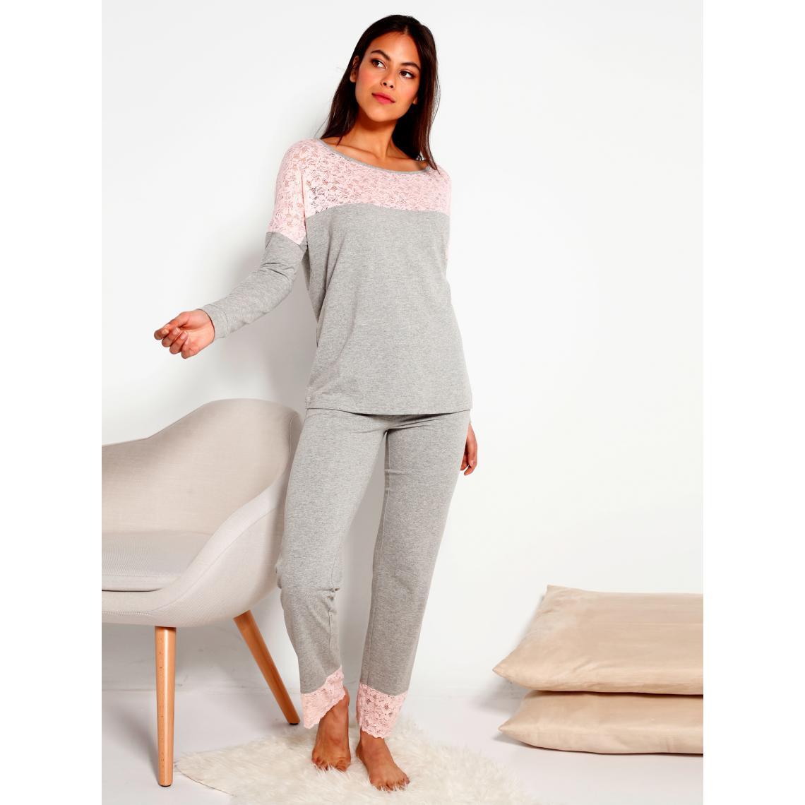 la qualité d'abord vente en ligne rencontrer Pyjama, détails en dentelle contrastés Gris   3 SUISSES