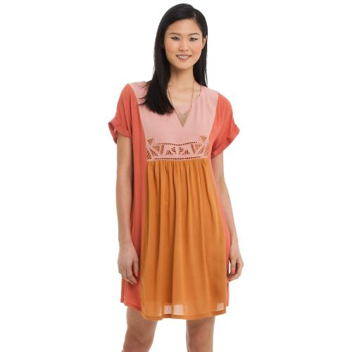 See u Soon - Robe manches courtes effet froncé See U Soon femme - Orange et Rose - Robe multicolore