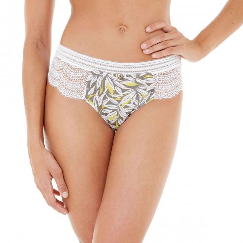 Morgan Lingerie - Shorty String feuillage Roxane-gris - Shorties, boxers