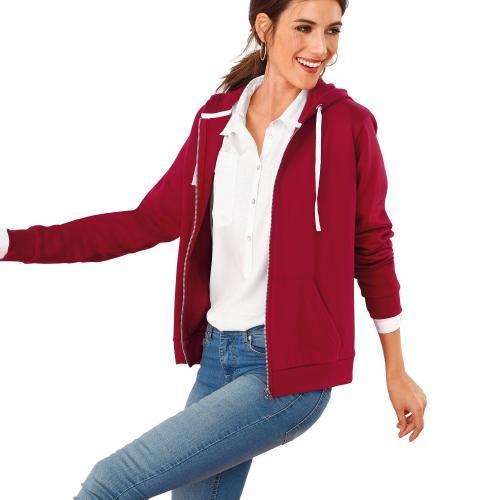 018ce67232 Venca - Sweat zippé à capuche poche kangourou femme Rouge - Sweat