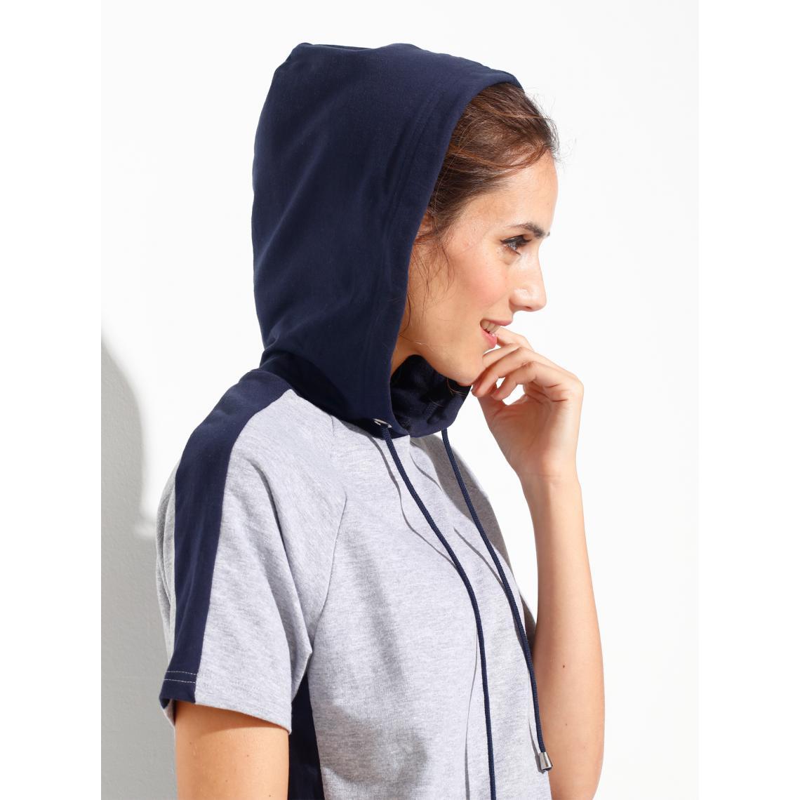 Sweater molletonné avec capuche, manches courtes Gris,bleu