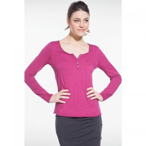 Manches Col Tee Rose Tunisien Longues Femme Shirt 4j3qSRALc5