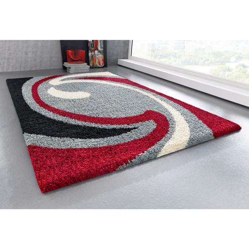 my home - Tapis Rectangulaire Motif Vague en Velours Gris et Rouge Hautes Mèches My Home - Tapis