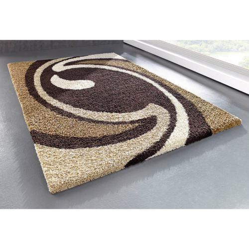 my home - Tapis Rectangulaire Motif Vague en Velours Marron Hautes Mèches My Home - Tapis