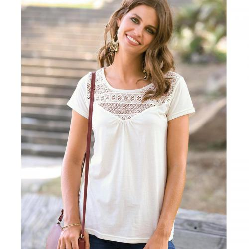 3 SUISSES - Tee-shirt manches longues imprimé Spring 3 Suisses Collection femme - Blanc - Flower Power