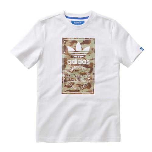 Adidas Originals - Tee-shirt manches courtes Adidas blanc imprimé - T-shirt / Polo