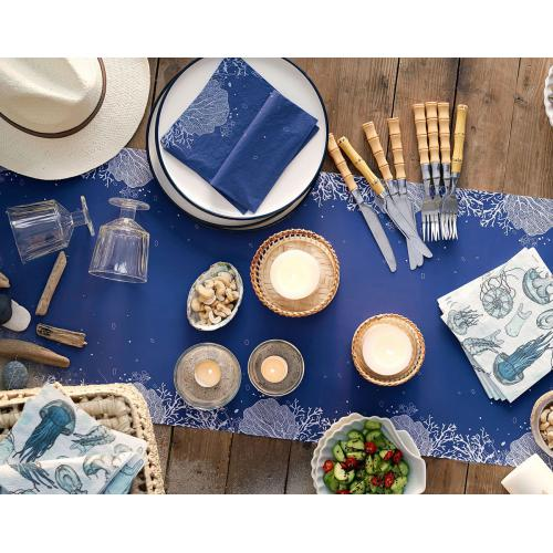 Becquet - Chemin de table CORAIL BLEU - Linge de table