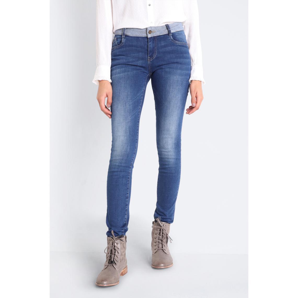 Jeans femme slim ceinture envers