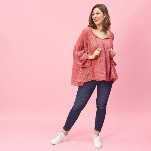 3S. x Stylist - Blouse manches 3/4 col V à dentelle - Ciao Bella