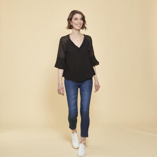 3 SUISSES Collection - Blouse manches 3/4 plumetis - Femme
