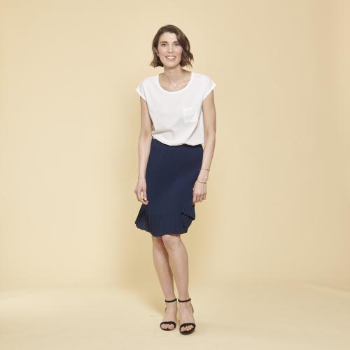 0351fd07f74 3 SUISSES Collection - Jupe plissée unie longueur genoux - Jupe