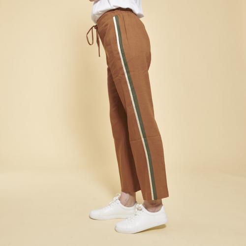 58ec8de13a6c26 3 SUISSES Collection - Pantalon en lin avec bandes appliquées - Pantalon
