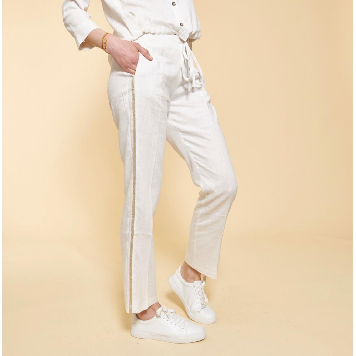 3f98338c7f32d Pantalon en lin avec bandes appliquées 3 SUISSES Collection Femme