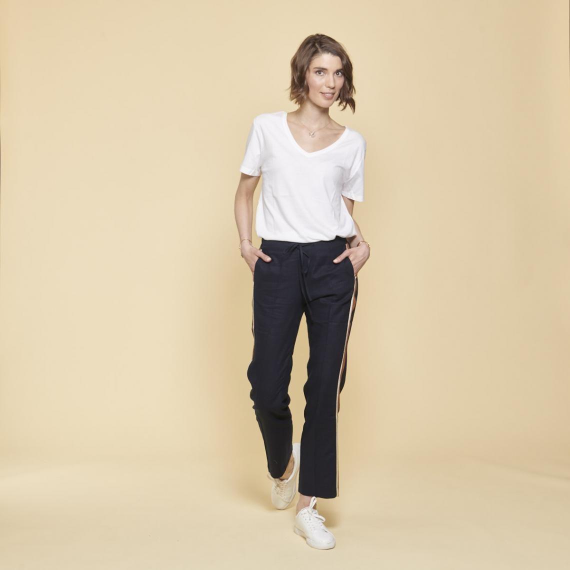 39bc131378143 Pantalon decontracté 3 SUISSES Collection Cliquez l'image pour l'agrandir.  Pantalon en lin avec bandes appliquées ...