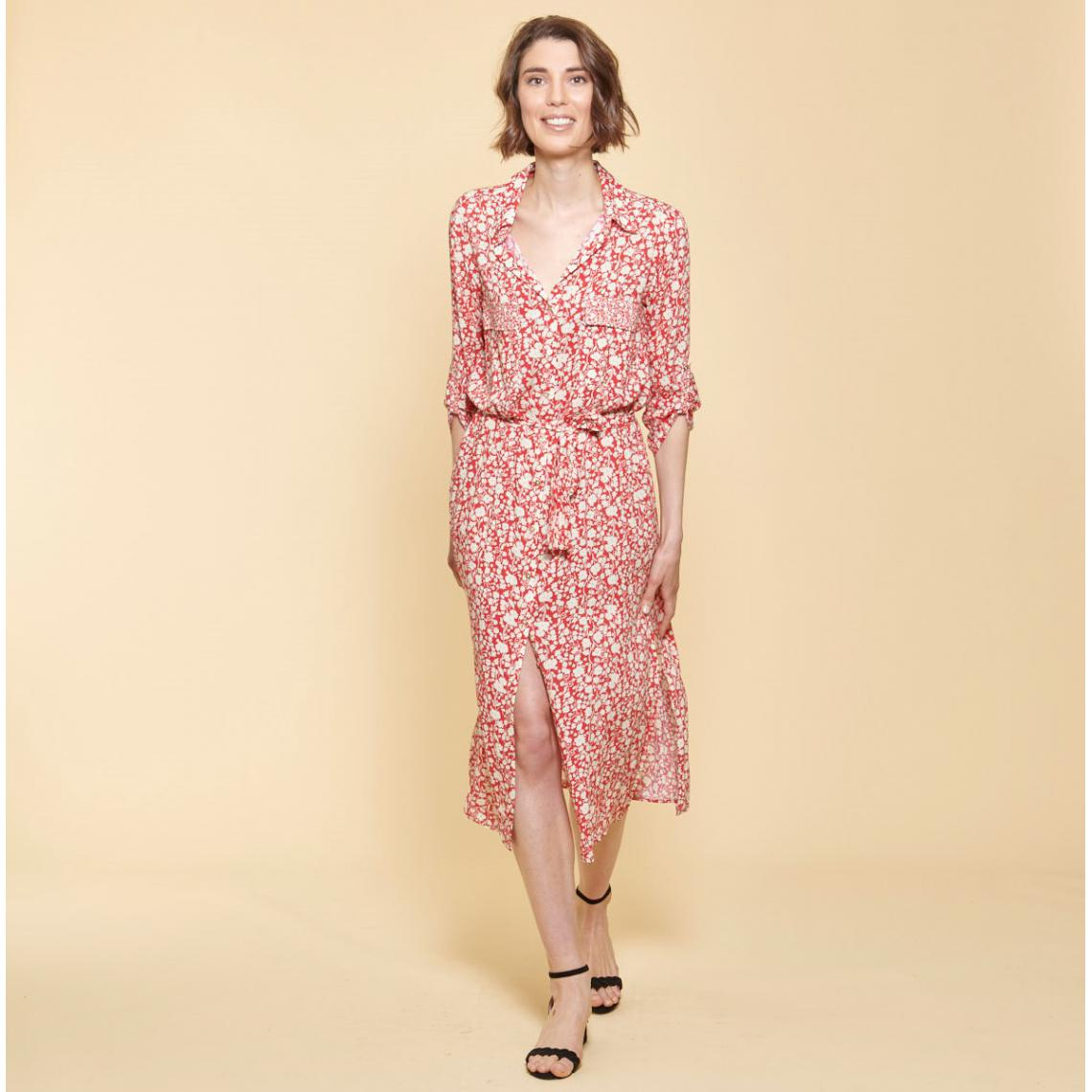 Robe chemise longue ceinturee - 3Suisses