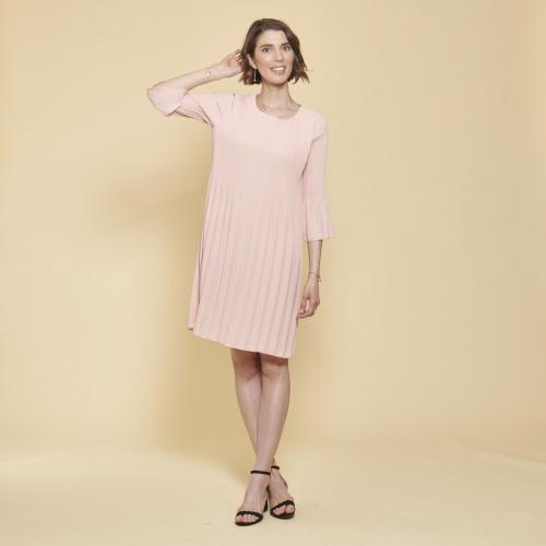 5711d5568c472 3 SUISSES Collection - Robe plissée manches évasées - Robe habillée