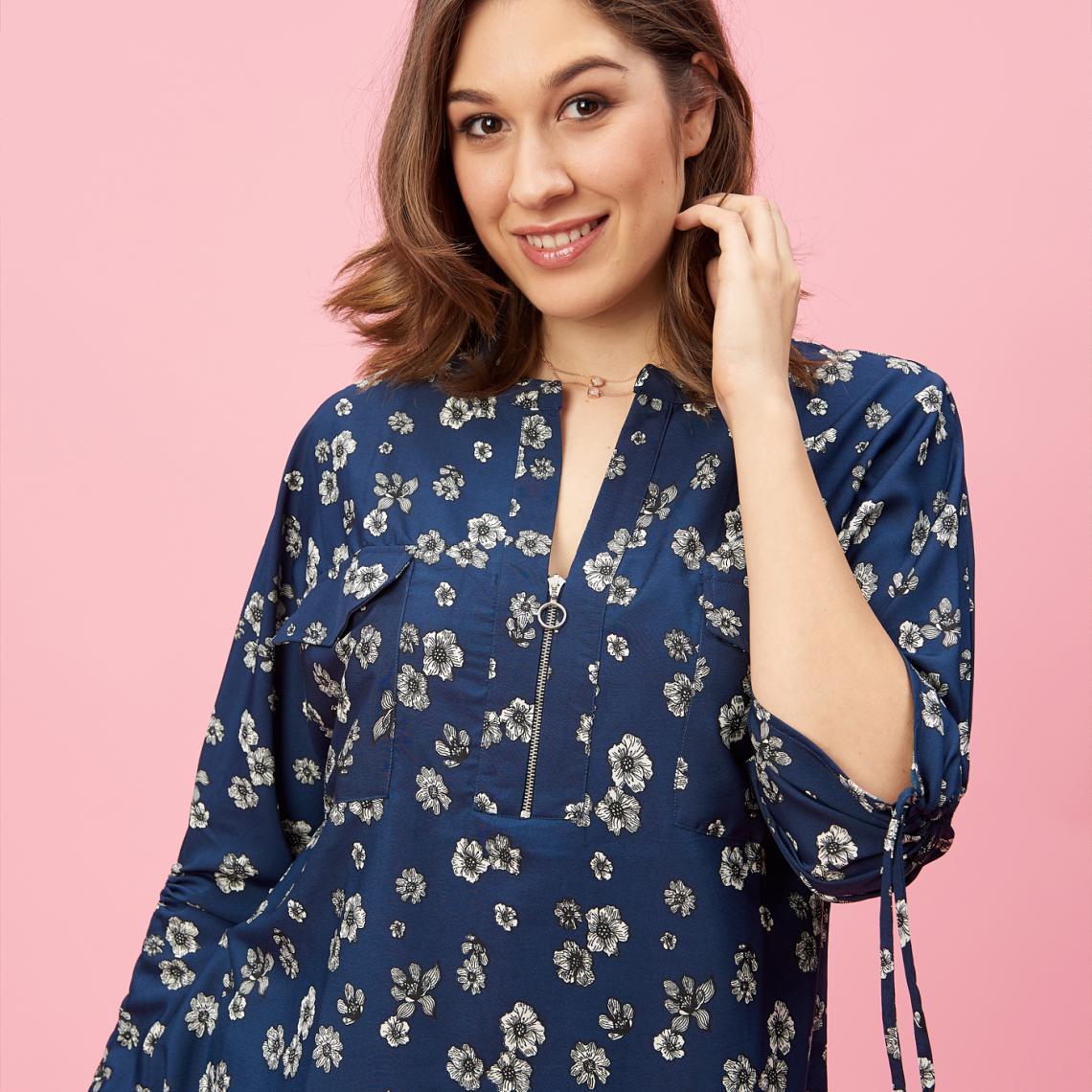 Blouse à fleurs col mao avec zip manches longues froncées grandes tailles femme