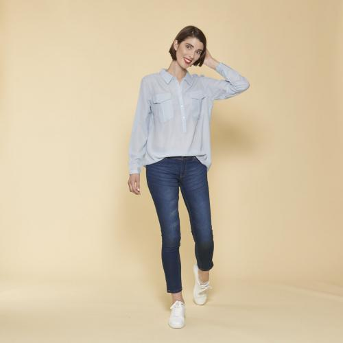 7cdf1821ca62be Blouse manches longues ajustables femme - Bleu Ciel