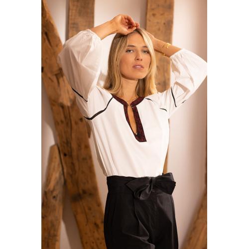 dd8545f91e4 3 SUISSES - Blouse manches longues élastiquées broderie et dentelle femme -  Blanc - Blouses femme