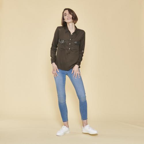 e68a63f5623 3 SUISSES - Blouse manches longues poches poitrine avec sequins femme -  Kaki - Blouses femme